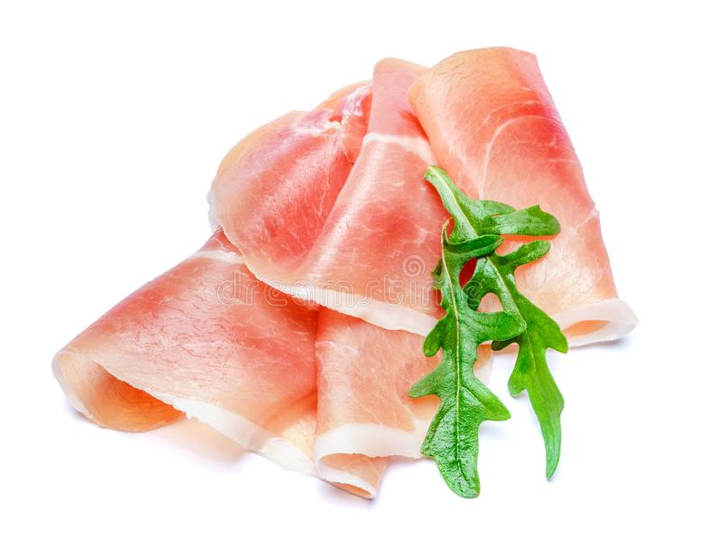 Italiaanse prosciuttocrudo of Spaanse jamon Ruwe ham op witte achtergrond royalty-vrije stock fotografie