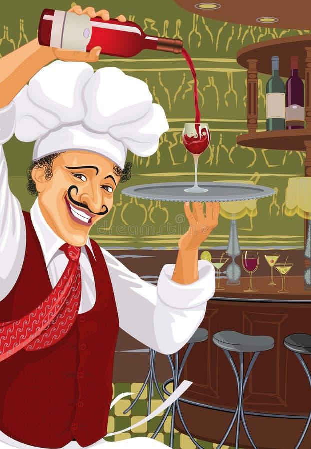 Italiaanse restaurant en staaf royalty-vrije illustratie