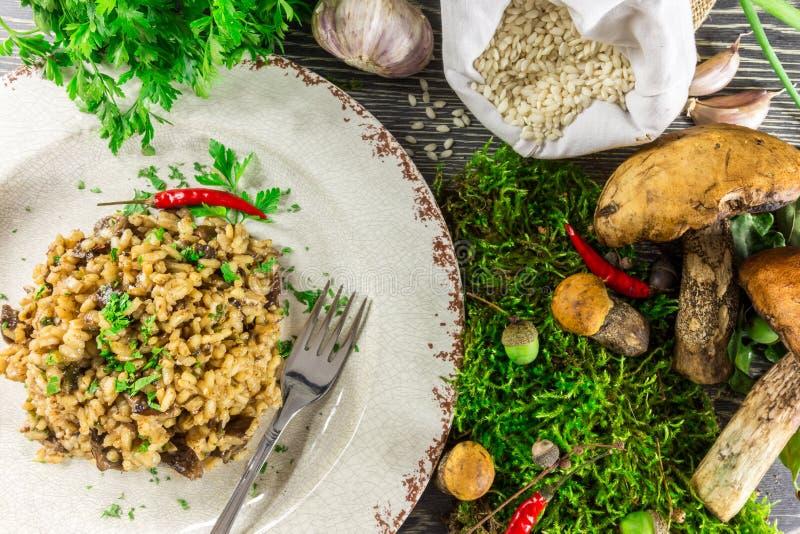 Italiaanse risotto met paddestoelen royalty-vrije stock afbeelding