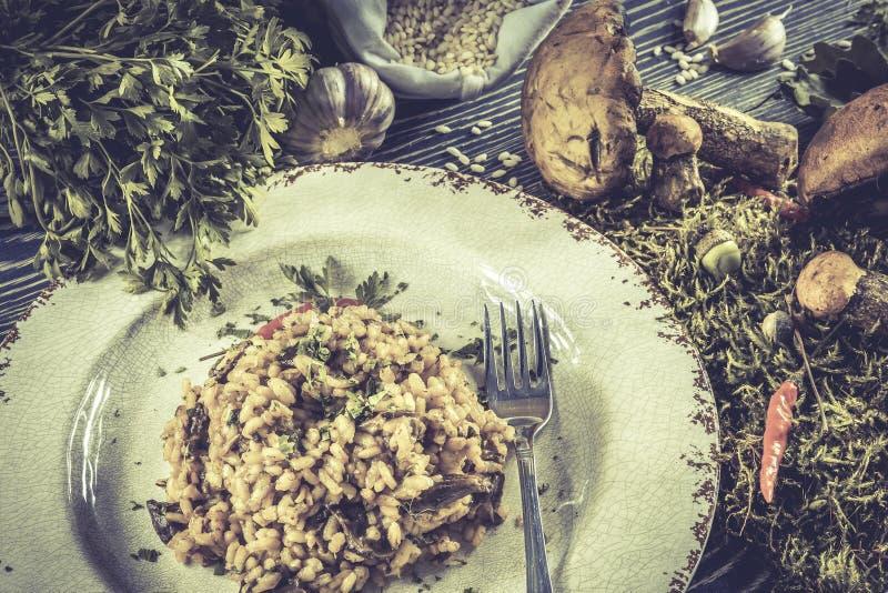Italiaanse risotto met paddestoelen stock foto's