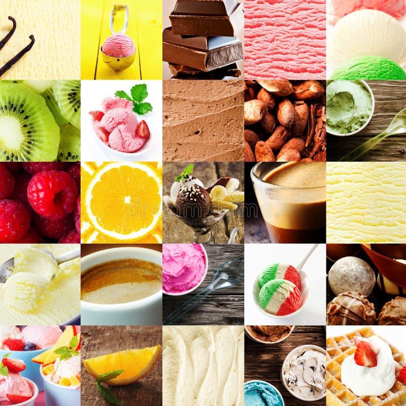 Italiaanse roomijs en dessertcollage stock fotografie