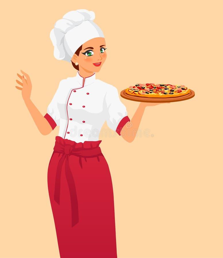 Italiaanse smakelijke pizza en vrouwenchef-kok royalty-vrije illustratie