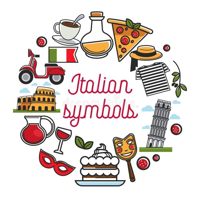Italiaanse symbolenaffiche met nationale architectuur en keuken stock illustratie