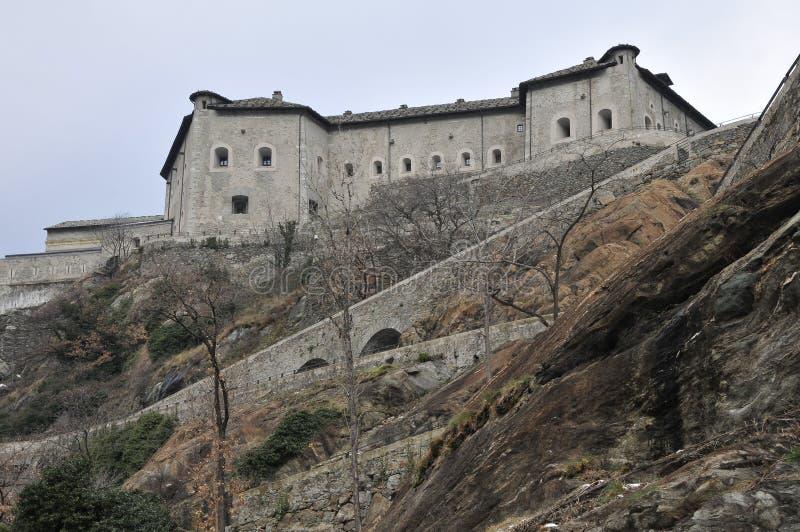 Italiaanse Valle van het Kasteel d'Aosta stock foto
