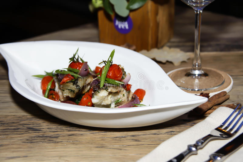 Italiaanse Vissen in Restaurant stock foto's