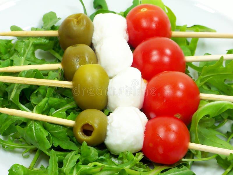 Italiaanse Vlag Kebabs royalty-vrije stock afbeelding