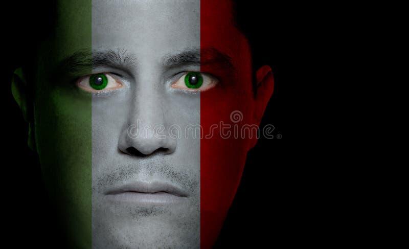 Italiaanse Vlag - Mannelijk Gezicht stock foto