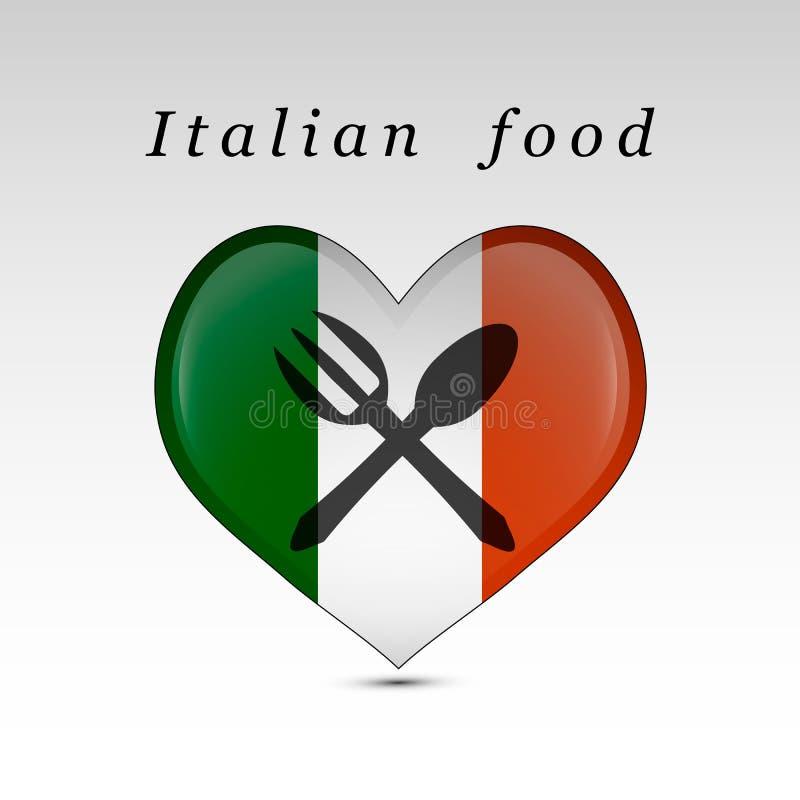 Italiaanse voedsel en vlag vector illustratie
