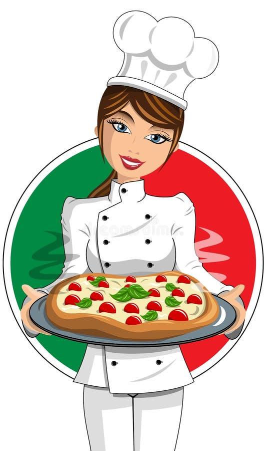Italiaanse Vrouwencook Uniform dienende Pizza vector illustratie