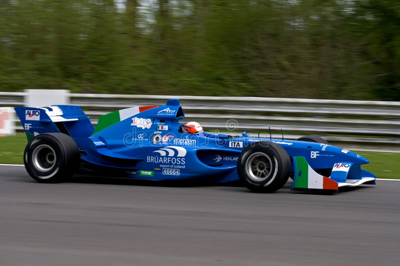 Italian a1 gp race car. On track, 5 May 2008 at Brands Hatch, UK royalty free stock photo