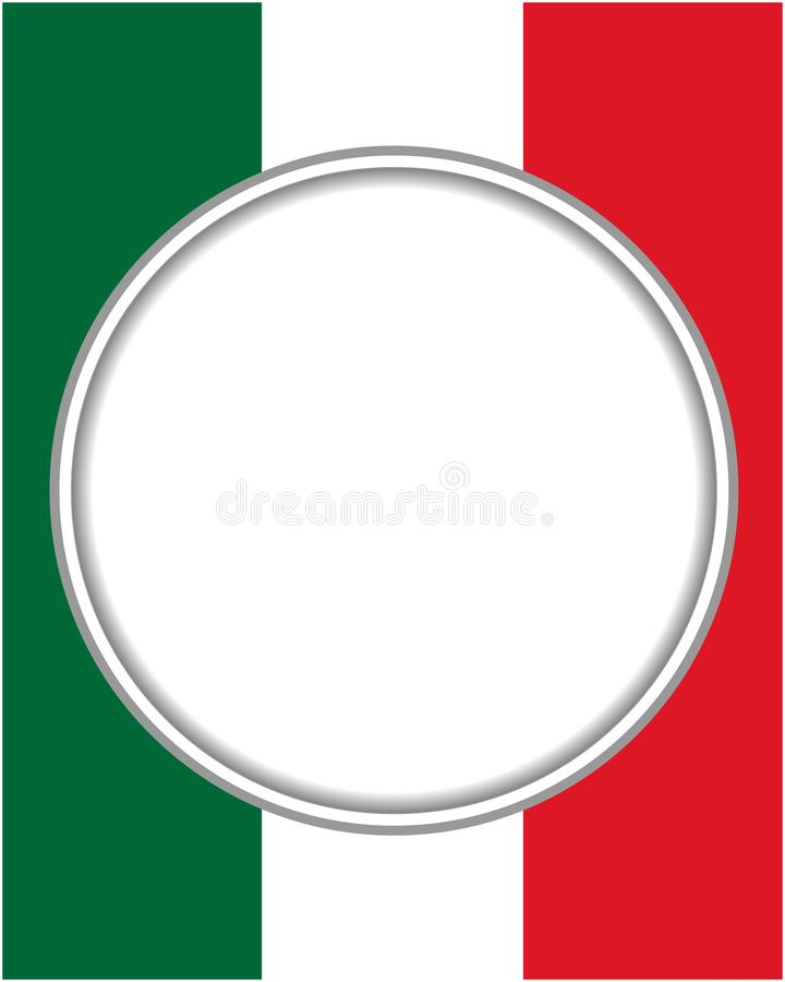 Italian abstract flag round frame with empty space for text. stock illustration