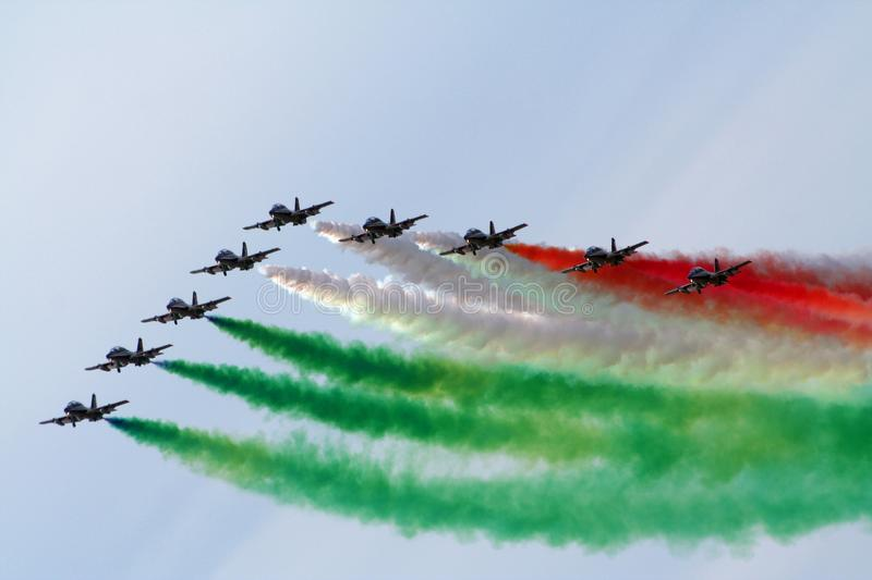 Italian aerobatic demonstration team Frecce Tricolori royalty free stock photos
