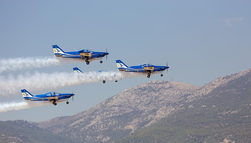 Italian aerobatic team Blu Circe flies in formation. During the Athens Flying Week show royalty free stock image