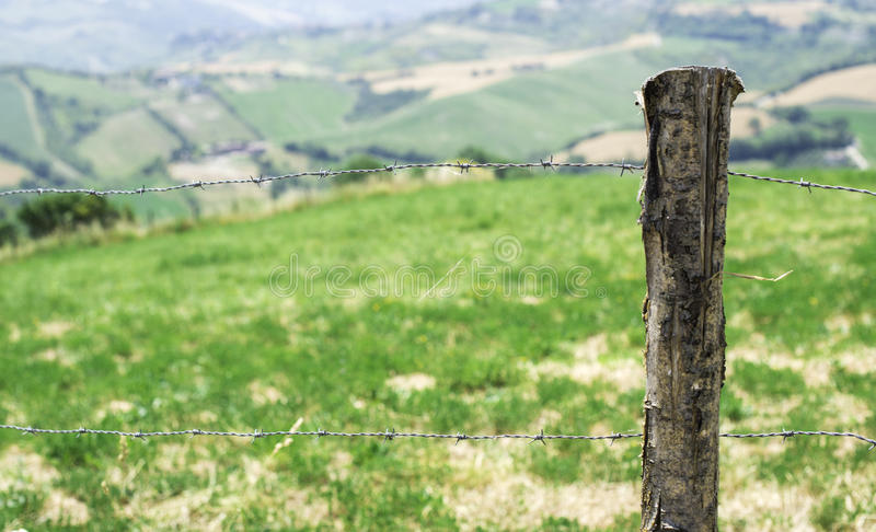 Italian agriculture village. Fence and meadow stock image