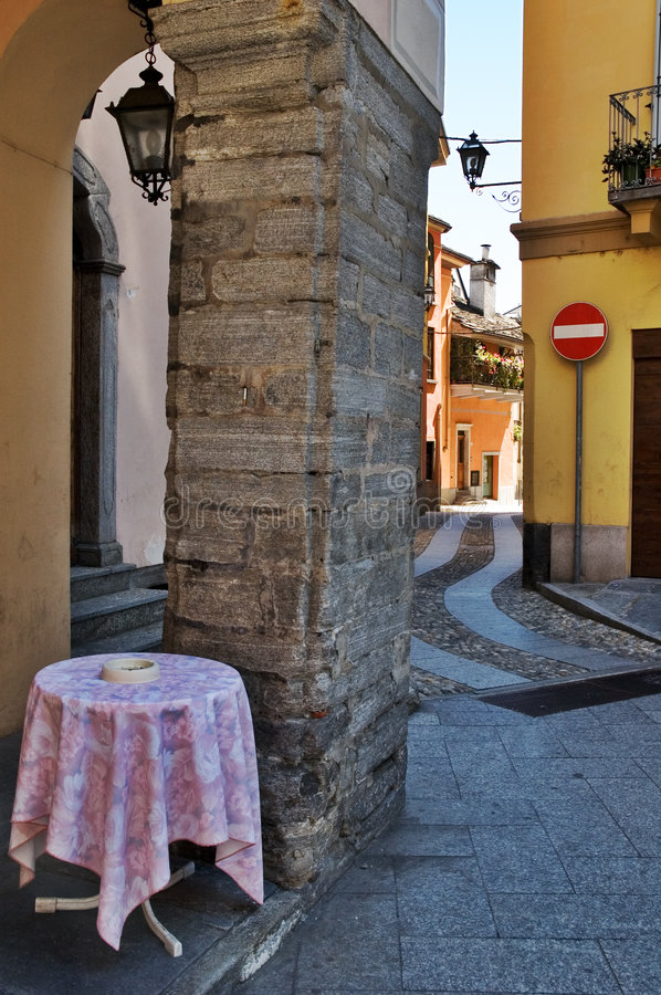 Download Italian alley stock image. Image of table, european, pebbled - 5600173