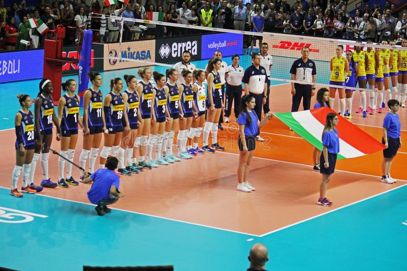 Italian anthem. The volleyball italian national team during the anthem in the nations league match italy vs brasil played at eboli in italy. 14/6/18 stock images