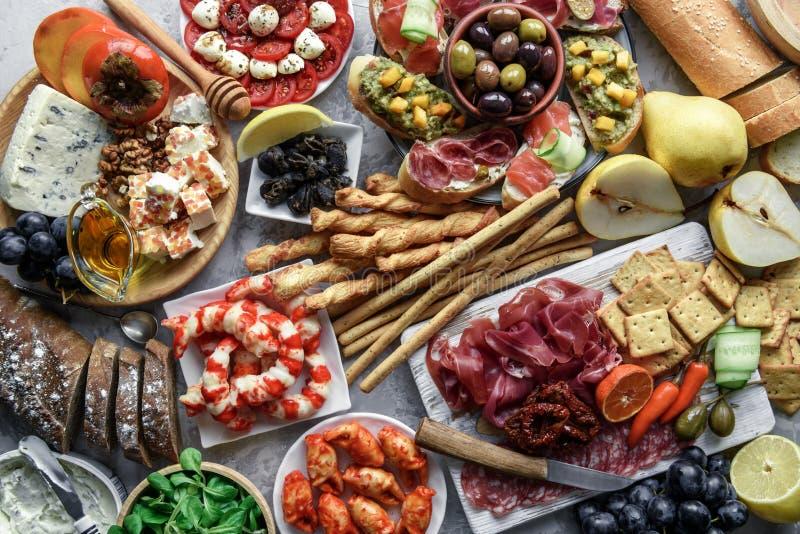 Italian antipasti snacks set royalty free stock photo