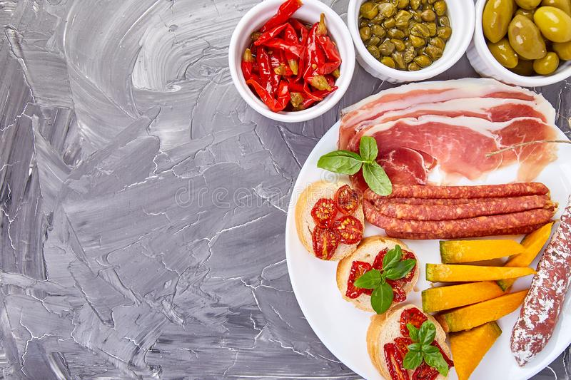 Italian antipasti wine snacks set. Mediterranean. Falt lay. Copy space stock images