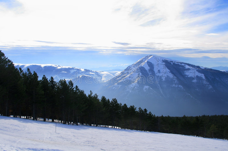 Italian Apennines. Covered with sknow in winter stock photography