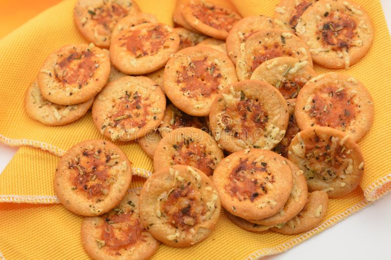 Italian appetizer snack crackers pizza with tomato cheese onion origan food nutrition royalty free stock photo