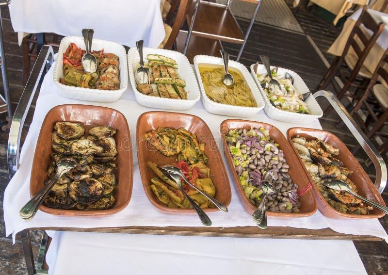 Italian appetizers restaurant in Trastevere royalty free stock photography