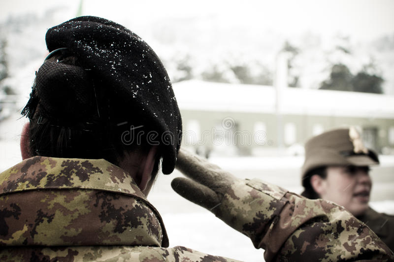 Italian army female soldier and army officer royalty free stock images