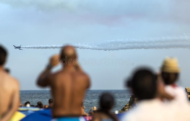 Planes snapshoot during italian arrows air show royalty free illustration