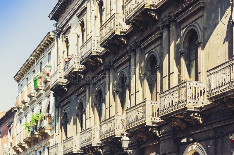 Italian background. Historical street of Catania, Sicily, facade of old building.  royalty free stock photography