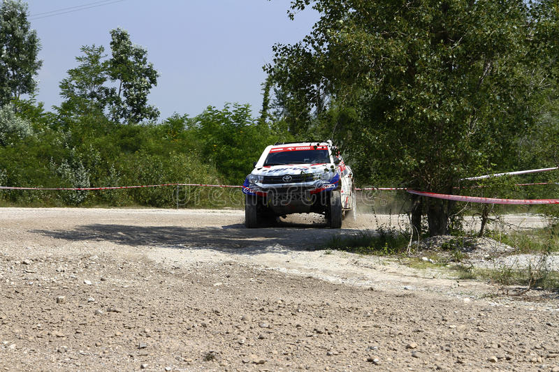Italian Baja 2016. Full gas out of a turn for DABROWSKI and CZACHOR on Toyota Hilux 4wd at Italian Baja 2016 stock photos