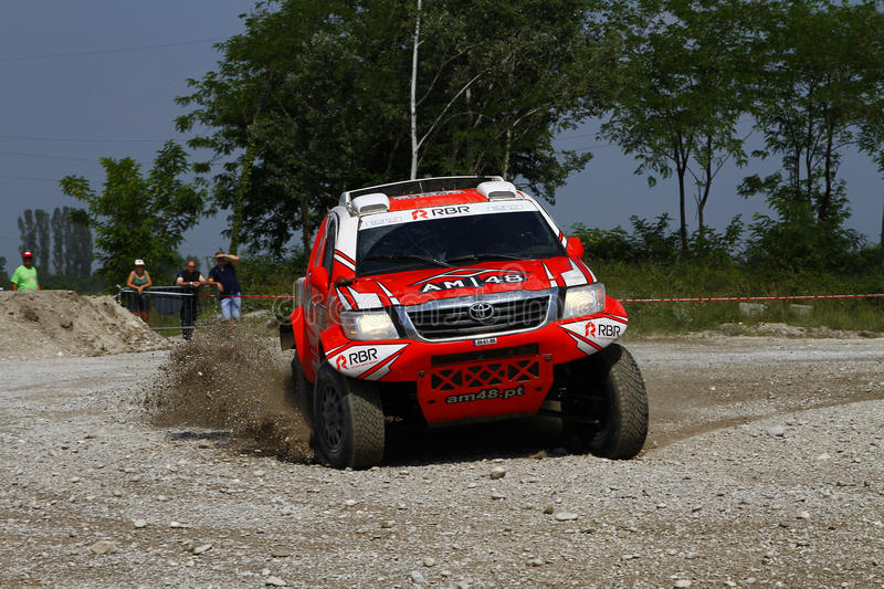 Italian Baja 2016. Full gas out of a turn for Martins and Marques on Toyota Hilux 4wd at Italian Baja 2016 royalty free stock photography