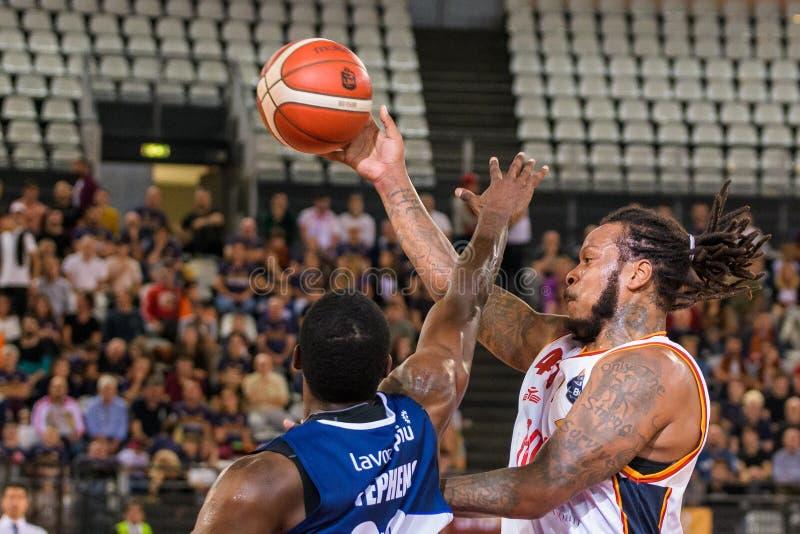 Italian Basketball A Serie  Championship Virtus Roma vs Fortitudo Bologna. Davon jefferson & x28;virtus roma& x29; during Virtus Roma vs Fortitudo Bologna stock images