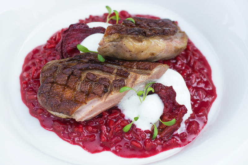 Italian beetroot risotto with delicious roasted duck breast stock photography