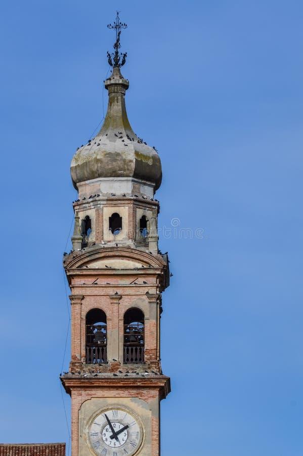 Italian Bell Tower in Crespino, Rovigo, Italy stock image