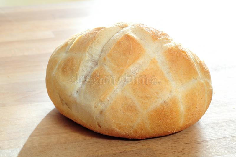Italian bread, bun called turtle. Typical bread in italy, a kind of rosetta called turtle, for square signs on the surface stock image