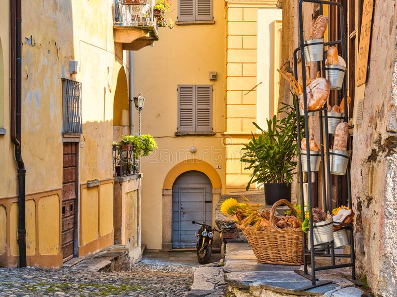 Italian breads at the entrance of a bakery in the town of Orta San Giulio at Lake Orta Italy stock photo