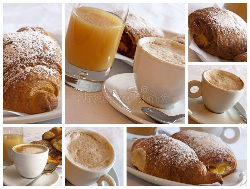 Italian breakfast - collage stock photography