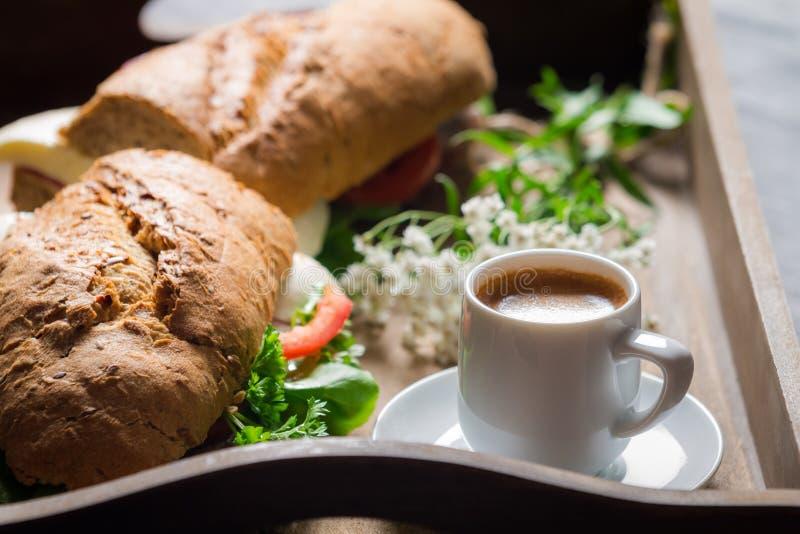 Italian breakfast with espresso and sandwich stock image