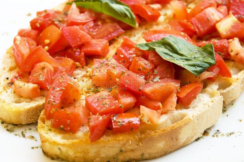 Italian bruschetta food isolated white stock photos
