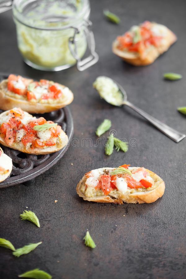 Bruschetta with spruce sprout pesto royalty free stock photo