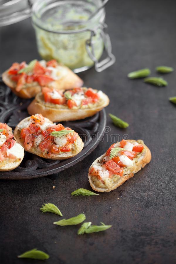 Bruschetta with spruce sprout pesto royalty free stock photos