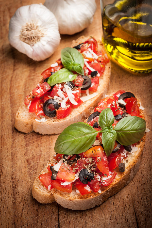 Italian Bruschetta With Tomatoes Stock Photo