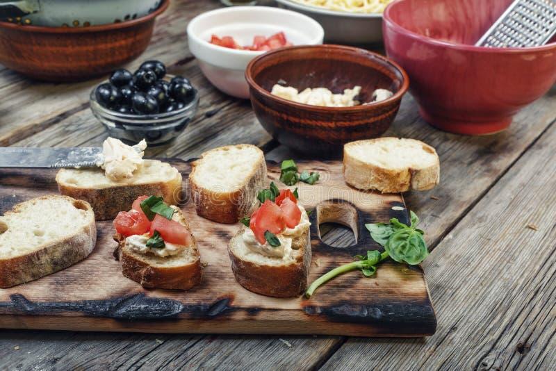 bruschetta, Italian bruschetta, tomato, basil, food, snack, snac royalty free stock image