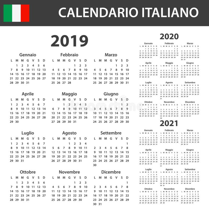 Italian Calendar for 2019, 2020 and 2021. Scheduler, agenda or diary template. Week starts on Monday royalty free illustration