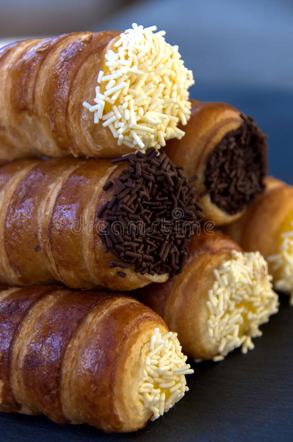 `Italian Cannoncini`. Are the cream of the greedy pastries made with puff pastry filled stock photo