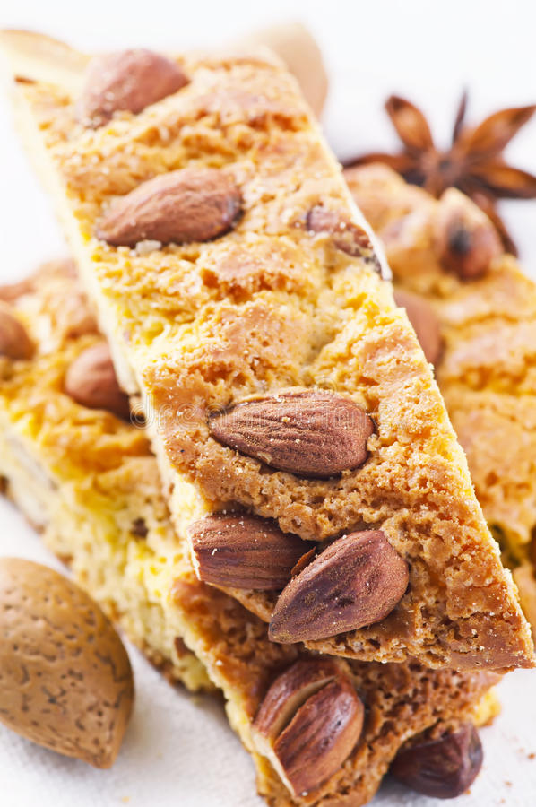 Italian cantucci. Italian almond cantucci as closeup royalty free stock photo