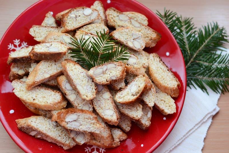 Italian cantucci. Italian sweet biscotti, winter cantucci stock photos