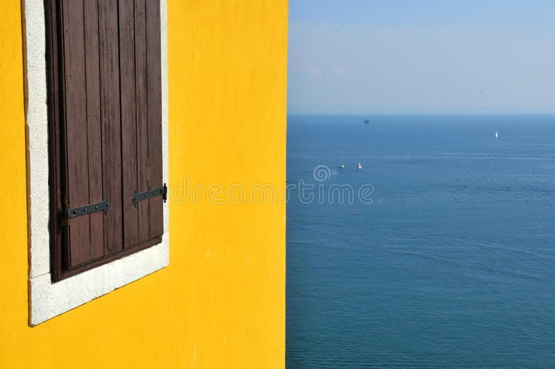Italian castle wall and mediterranean
