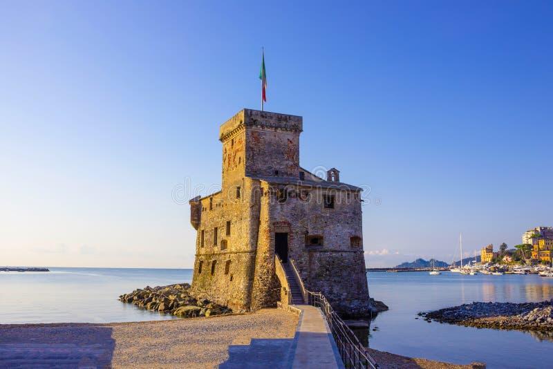 Italian castles on sea italian flag - castle of Rapallo , Liguria Genoa Tigullio gulf near Portofino Italy . Italian castles on sea italian flag - castle of stock photo