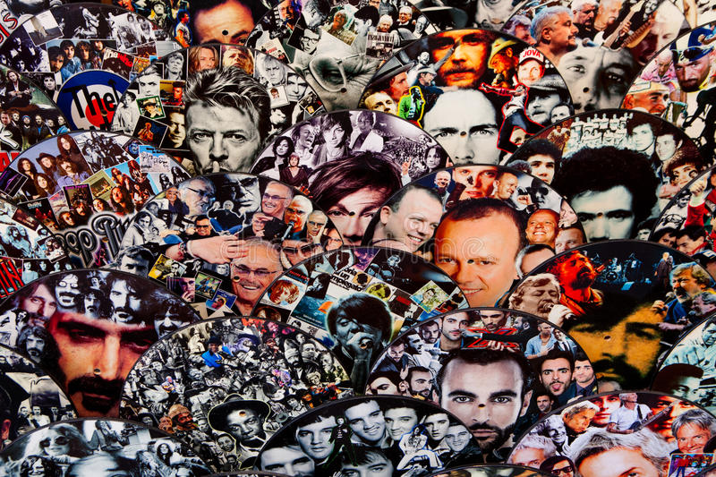 Italian celebrities. Faces background. stock images