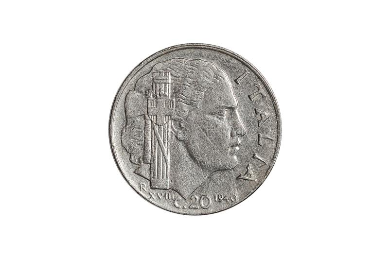 Italian 20 cents of lira coin stock images